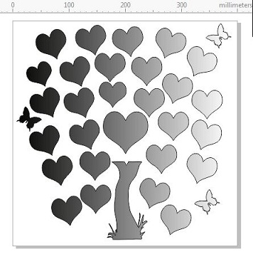 400 X 400 MM HEART TREE CUT OUT A PLACE IN A FRAME WITH NO GLASS
